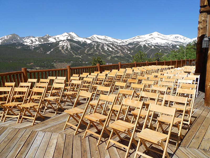 Wedding Cermony Chairs on Deck at The Lodge at Breckenridge