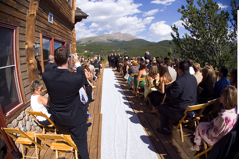 Wedding Cermony Decorations on Patio at The Lodge at Breckenridge 2
