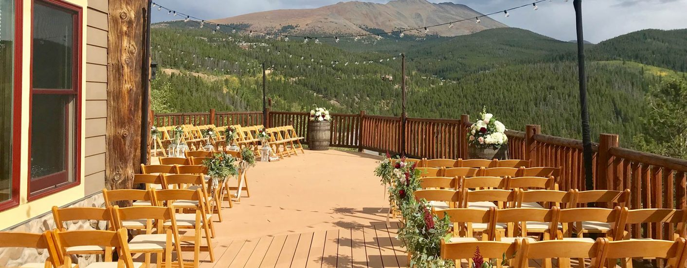 Lodge at Breckenridge balcony wedding set up